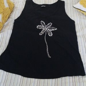AVENUE NWOT BLACK MIXED MEDIA TANK TOP